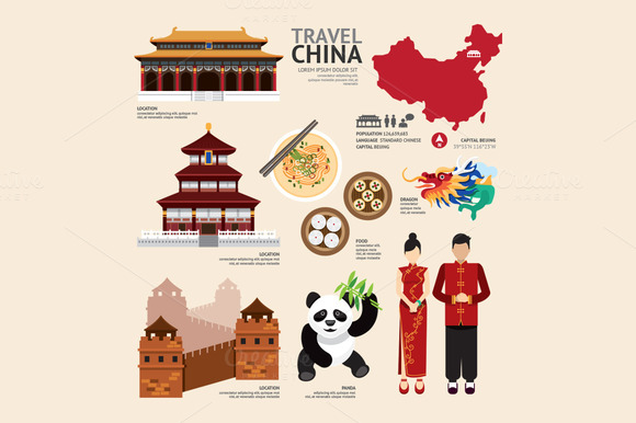 China Flat Icons Design Travel