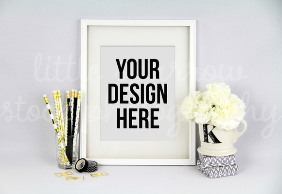 Styled White Picture Frame Mock Up