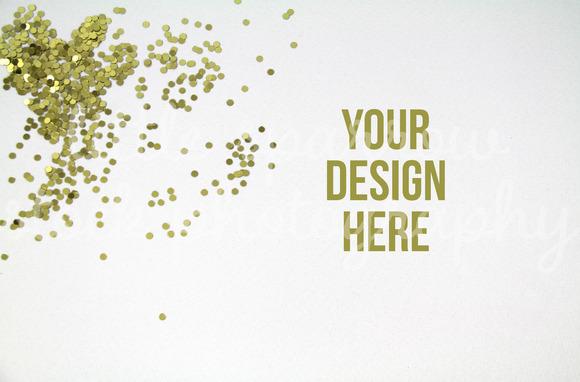 Gold Confetti Styled Desktop Mock Up