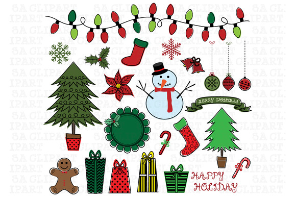 Christmas Color Doodles ClipArt