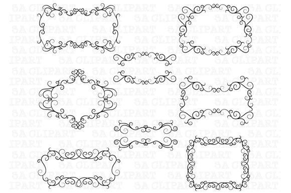 Flourish Swirl Border Frame Clipart