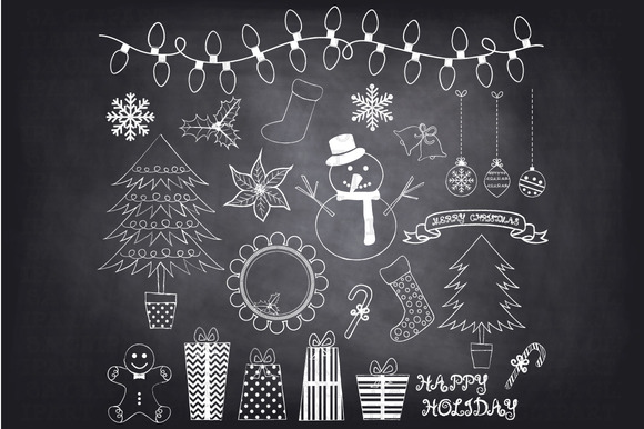 Chalkboard Christmas Doodles ClipArt