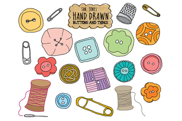 Hand Drawn Vector Buttons N Things