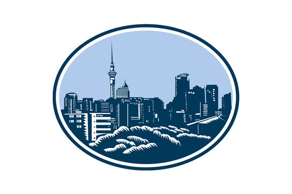 Auckland City Skyline Woodcut Retro