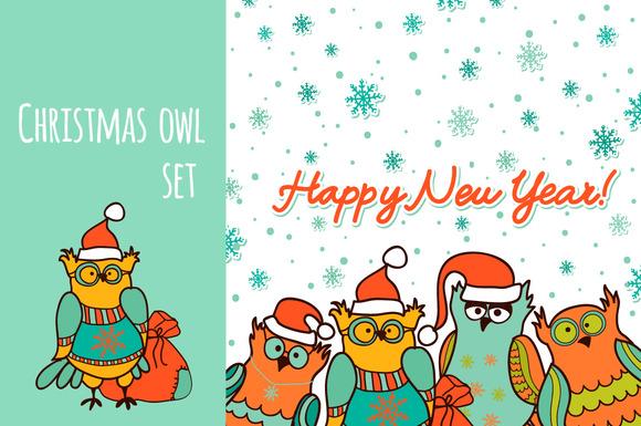Christmas Owl Funny Set