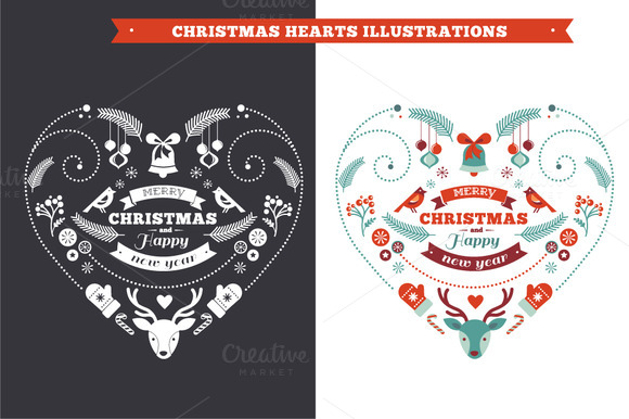 Christmas Heart Cards Backgrounds
