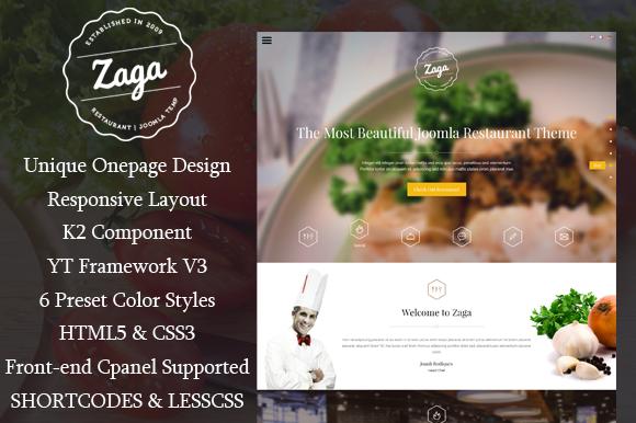 SJ Zaga Onepage Restaurant Theme