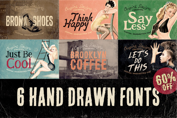6 Hand Drawn Fonts 60% OFF