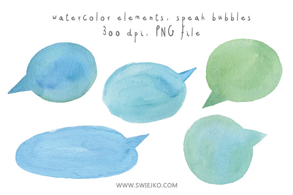 Watercolor Elements Speak Bubbles