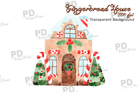 Watercolor Gingerbread House Clip Ar