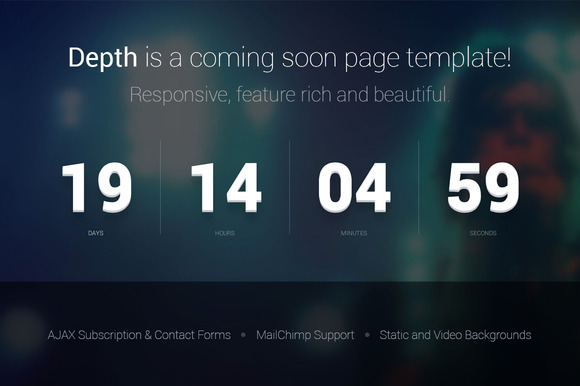Depth Coming Soon Page Template