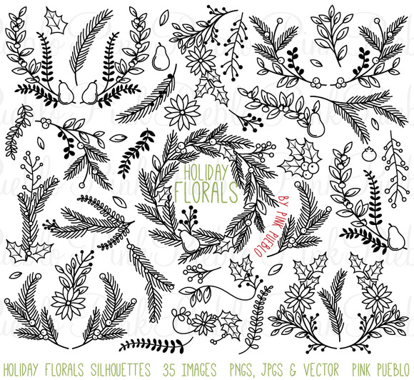 Christmas Holiday Floral Silhouettes