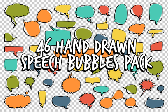 46 Hand Frawn Speech Bubbles Pack