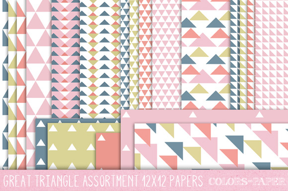 Assorted Triangles 24 12x12 Papers