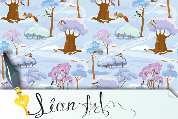Seamless Pattern Winter Forest