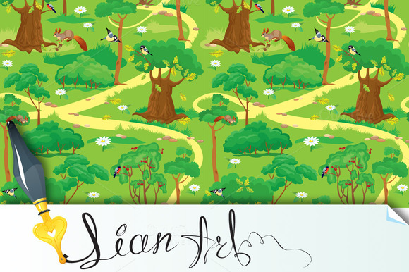 Seamless Pattern Green Forest Land
