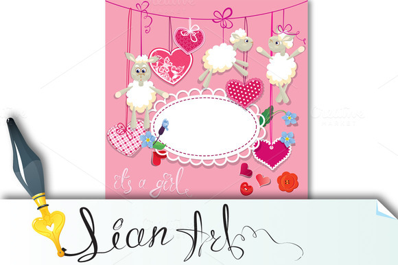 Pink Baby Shower Card With Sheep