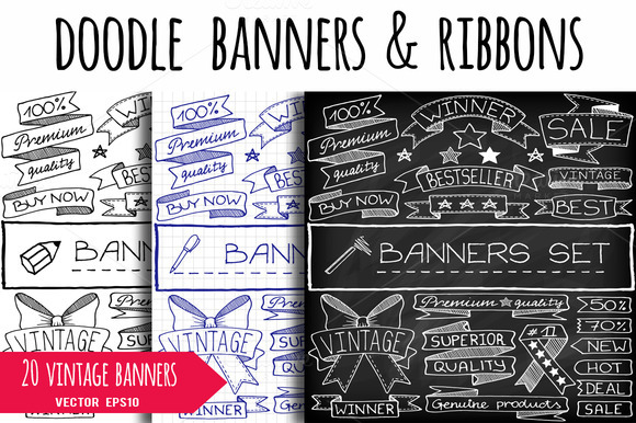 Doodle Vintage Banners Ribbons