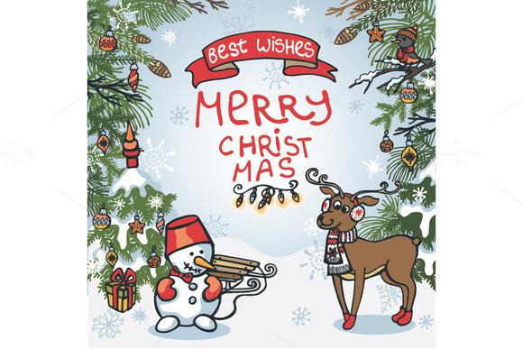 Christmas Card Reindeer Snowman