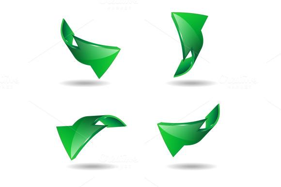 Set Of Green Arrows