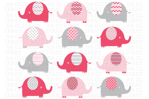 Girly Pink Grey Elephant ClipArt