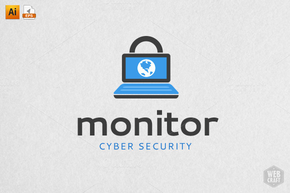 Monitor Cyber Security Logo Template