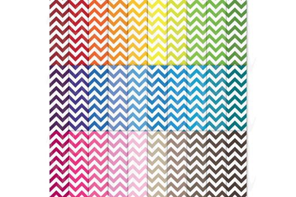 30 Rainbow Chevron Digital Paper