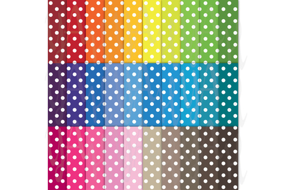 30 Rainbow Polka Dot Digital Paper