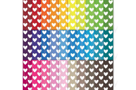 30 Rainbow Heart Shape Digital Paper