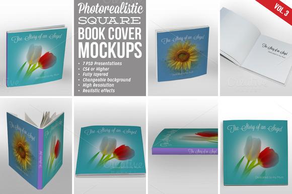 Square Book Cover Mockup 03