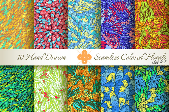 10 Colored Seamless Florals Set #7
