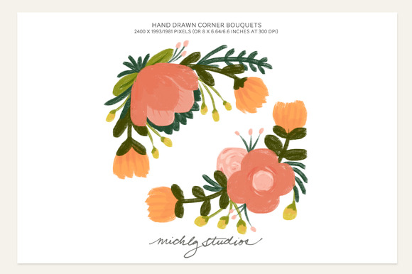 2 PNG Hand Drawn Corner Bouquets
