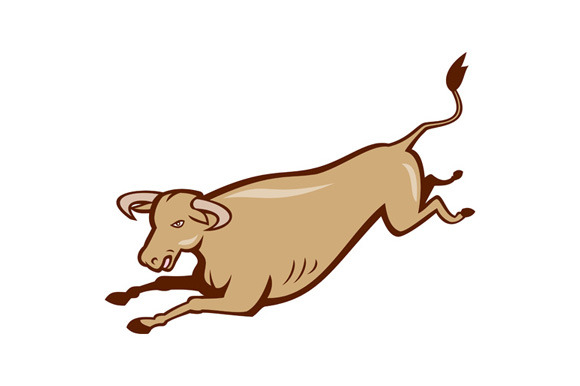Bull Cow Jumping Cartoon
