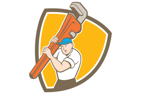 Plumber Carrying Monkey Wrench Shiel