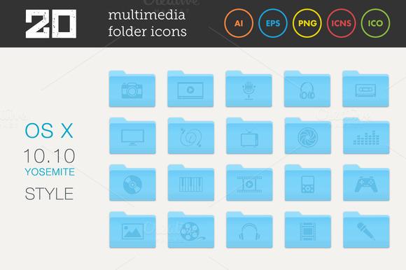 Multimedia Folder Icons Set
