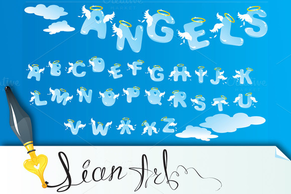 Alphabet With Funny Angels Letters