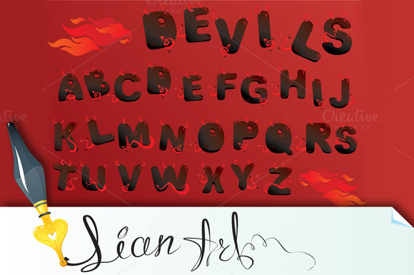 Alphabet With Funny Demons Letters