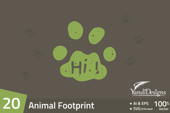 20 Animal Footprint Element Pack
