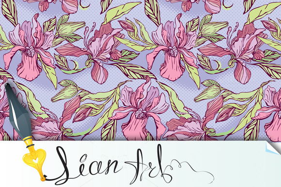 Flower Seamless Pattern With Orchids