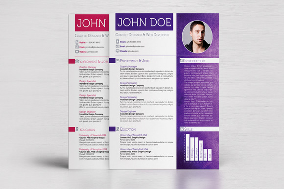 4 Colorful Textured Print Resumes
