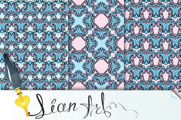 Set Of Seamless Patterns Floral