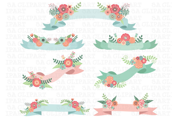 Wedding Floral Banner Clipart