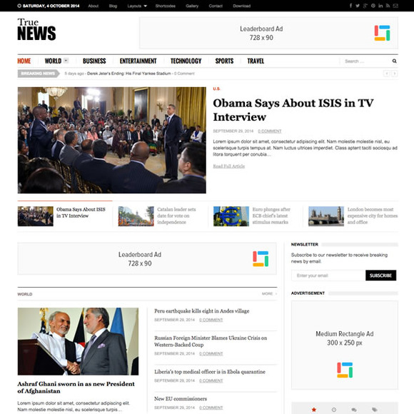 TrueNews Responsive News Theme