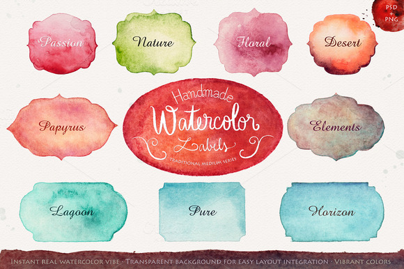 Handmade Watercolor Labels