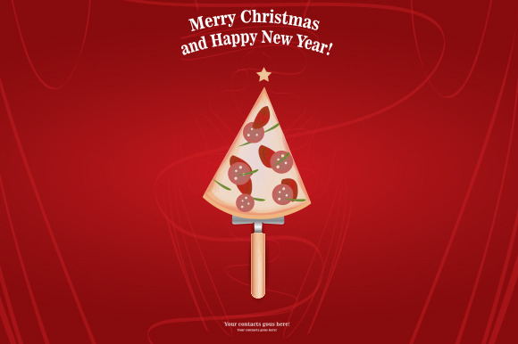 New Year And Merry Christmas Pizza