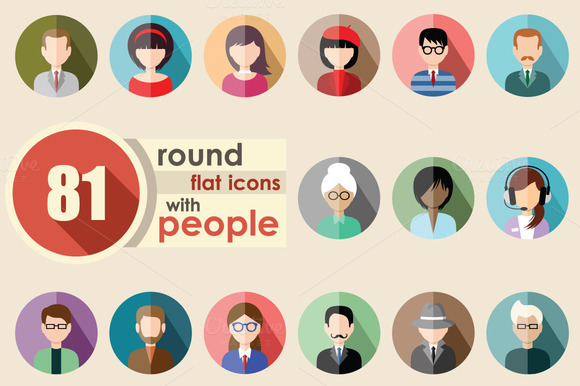 Flat Round Icons With People
