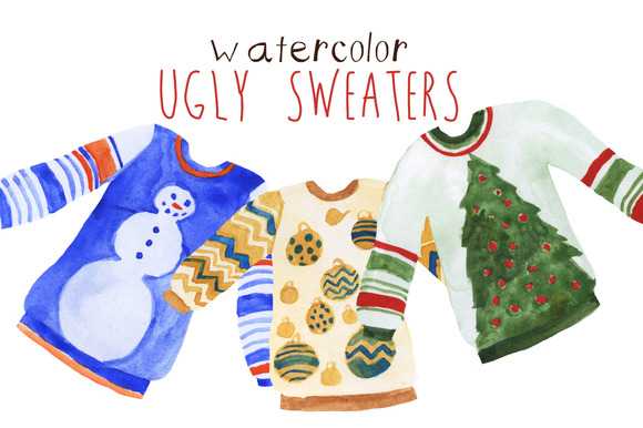 Watercolor Holiday Ugly Sweaters