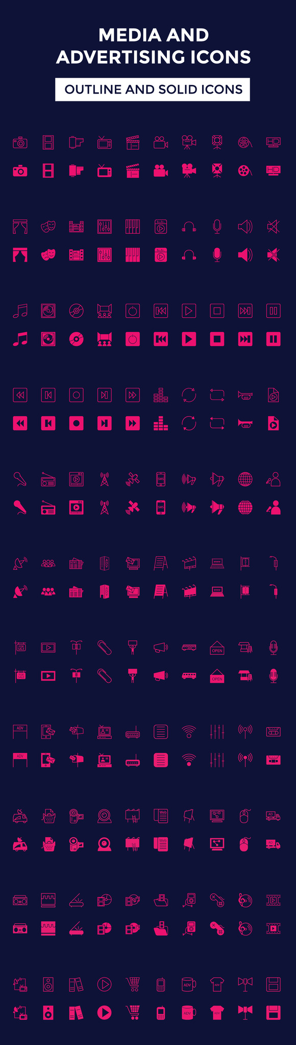 100 Media And Advertising Icons