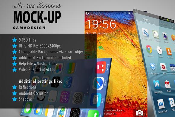 Hi-Res 3D Screens Mockup