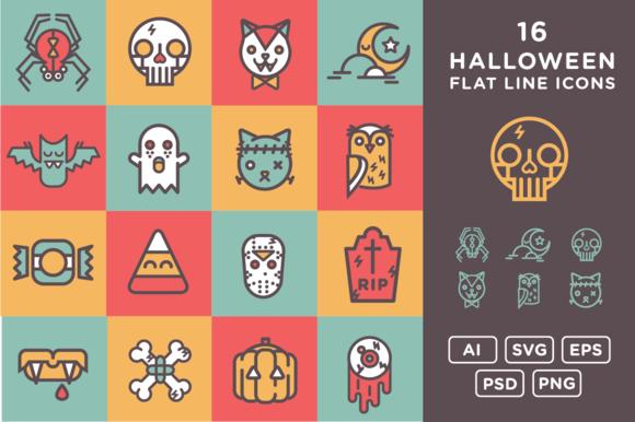 16 Halloween Flat Line Icons